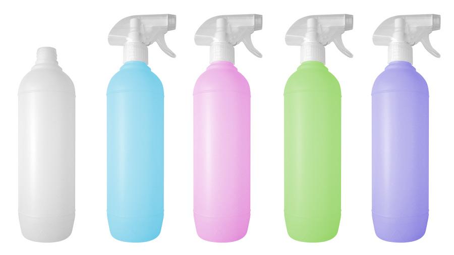 Produzione e serigrafia flaconi e bottiglie in plastica per detergenti, detersivi, lavavetri ...